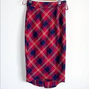 Free people vintage look plaid midi skirt